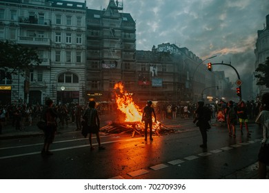 Hamburg, Germany - July 07, 2017: Protesters and onlookers during the G20 summit in Hamburg 2017