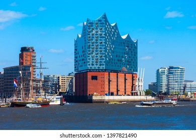 HAMBURG, GERMANY - JULY 07, 2018: Elbe Philharmonic or Elbphilharmonie is a concert hall in the HafenCity quarter of Hamburg in Germany