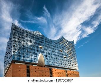 Hamburg, Germany - July, 12, 2017: The Elbe Philharmonic Hall or Elbphilharmonie, concert hall in the Hafen City quarter of Hamburg, Germany