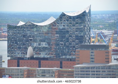 Hamburg, Germany - July 15, 2016: The Elbphilharmonie, a concert hall under construction in the Hafen City quarter of Hamburg, Germany.