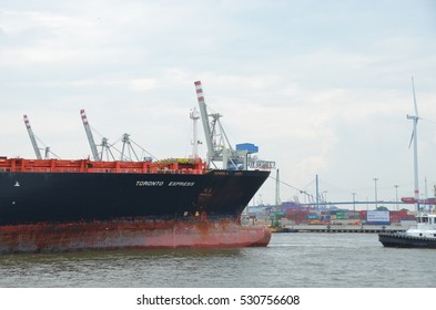 HAMBURG, GERMANY - JULY 15, 2016: Port of Hamburg on the river Elbe, the largest port in Germany.