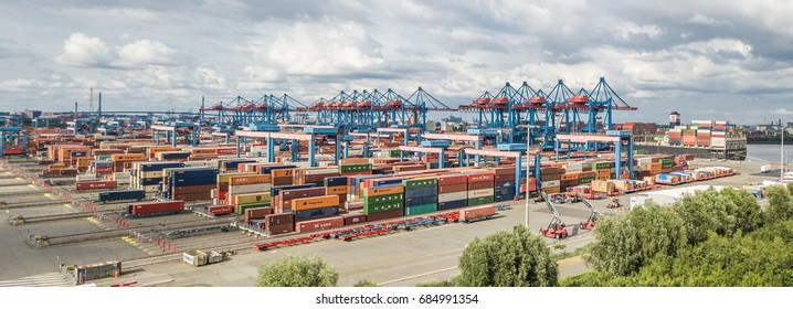 HAMBURG / GERMANY - JULY 15, 2017: The highly automated container terminal in Altenwerder is one of the most modern and innovative of the world, aerial