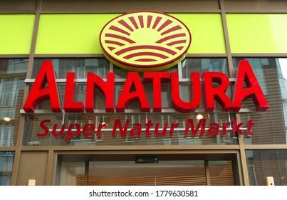 HAMBURG, GERMANY - July 16, 2020 - Logo of bio supermarket called Alnatura