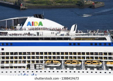 Hamburg / Germany - July 19, 2018: AIDA sol is leaving Hamburg Harbour, Germany - Aida Cruises is an American/British-owned German Cruise line based in Rostock
