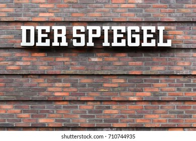 Hamburg, Germany - July 20., 2017: Der Spiegel logo on a wall. Der Spiegel is a German weekly news magazine published in Hamburg, Germany
