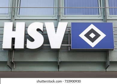 Hamburg, Germany - July 21, 2017: Hamburger SV logo on a wall. Hamburger SV is a German sport club based in Hamburg, its largest branch being its football department