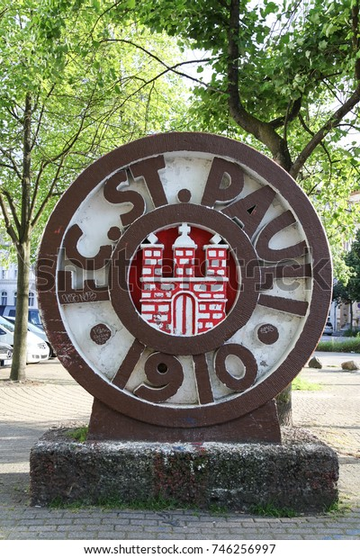 HAMBURG, GERMANY - JULY 9, 2013: FC ST Pauli club logo in Hamburg city