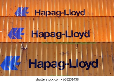 HAMBURG, GERMANY - JULY 9, 2017: Shipping containers from Hapag-Lloyd stored at the Port of Hamburg