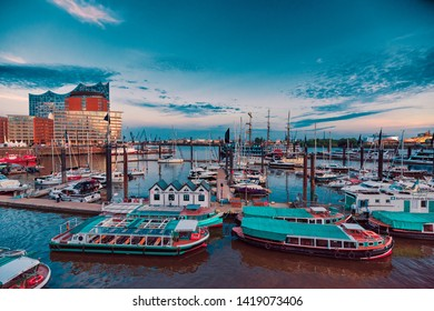 HAMBURG, GERMANY - June 01, 2019: The Marina of harbor Hamburg is celebrating its twentyfifth aniversary
