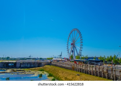 HAMBURG, GERMANY - JUNE 08, 2015: Amazing view from the Hamburg eye, ferris wheel to see all the city