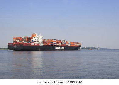HAMBURG, GERMANY - JUNE 10, 2015:Containership,Elbe,Hamburg Harbour, Germany