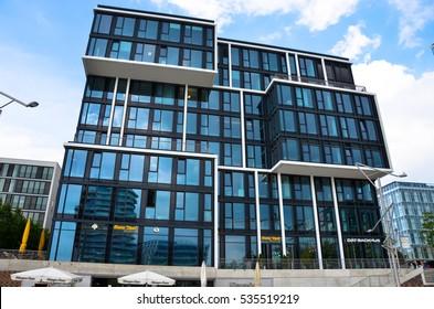 Hamburg, Germany - JUNE 15, 2016: View of the HafenCity in Hamburg