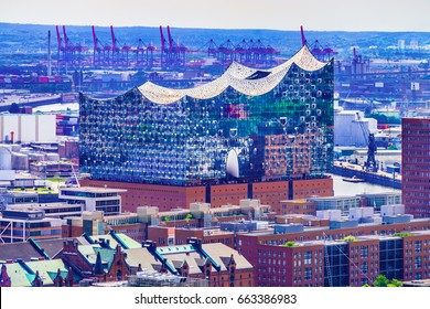 Hamburg, Germany - June 15, 2017: Aerial view of the concert hall Elbphilharmonie and the surrounding harbor and harbor district.