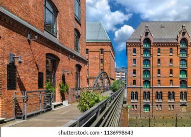 Hamburg, Germany - June 15, 2018: The Warehouse District (German: Speicherstadt) in Hamburg, Germany. The largest warehouse district in the world is located in the port of Hamburg within the HafenCity