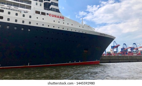 Hamburg, Germany - June 21, 2019: Queen Mary 2, the luxurious Cunard Liner is visiting Hamburg in order to pick up passengers for the next cruise.
