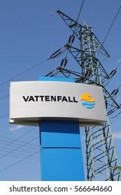 HAMBURG, GERMANY - JUNE 23, 2016: Vattenfall signboard outside the power plant Tiefstack
