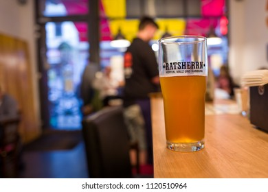 Hamburg, Germany - June 23, 2018: A Ratsherrn beer in a bar in Hamburg.