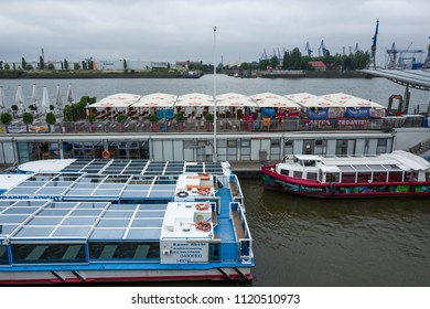 Hamburg, Germany - June 25, 2018: The boats in the Landungsbruecken district in Hamburg.