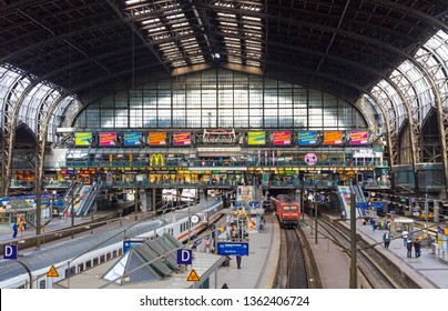 Hamburg, Germany - June 26, 2014: Inside of the Hamburg Hauptbahnhof (Hamburg Hbf), main railway station of Hamburg city. Opened in 1906. Germany's busiest railway station