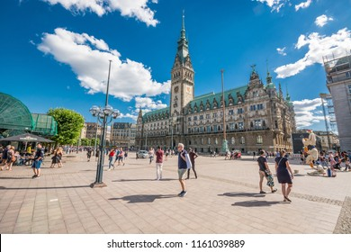 HAMBURG, GERMANY - JUNE 30, 2018: Hamburg City Hall is the seat of local government of the Free and Hanseatic City of Hamburg, Germany.