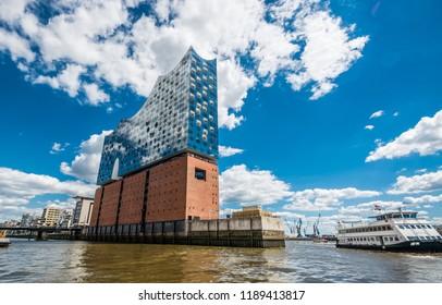 HAMBURG, GERMANY - JUNE 30, 2018: Elbphilharmonie in Hamburg. Summer city landscape.