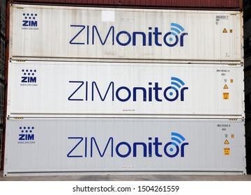 HAMBURG, GERMANY - JUNE 30, 2019: ZIMONITOR temperature controlled shipping containers of ZIM Integrated Shipping Services Ltd. - the biggest cargo shipping company in Israel - at the Port of Hamburg