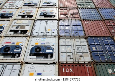HAMBURG, GERMANY - JUNE 30, 2019: Standard general purpose containers and refrigerated shipping containers stored at the Port of Hamburg
