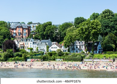 HAMBURG, GERMANY - JUNE 4, 2016: View of the Treppenviertel district and the Elbe river on June 4, 2016. It is Germanys largest port and is named the countrys Gateway to the World.
