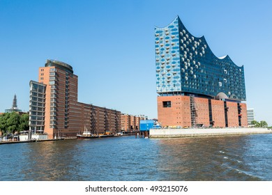 HAMBURG, GERMANY - JUNE 4, 2016: The Elbphilharmonie building in the port of Hamburg on June 4, 2016. It is Germanys largest port and is named the countrys Gateway to the World.