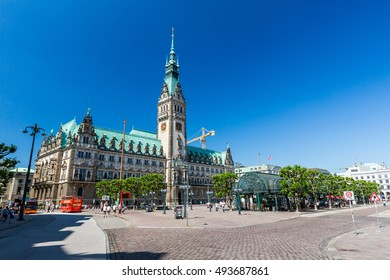 HAMBURG, GERMANY - JUNE 5, 2016: Exterior view of the town hall of Hamburg on June 5, 2016. The town hall (German The Hamburg Rathaus) was built 1897 and is the seat of the government of Hamburg.