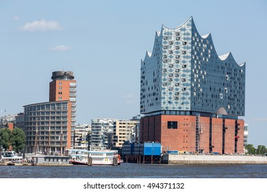 HAMBURG, GERMANY - JUNE 6, 2016: The Elbphilharmonie building in the port of Hamburg on June 6, 2016. It is Germanys largest port and is named the countrys Gateway to the World.