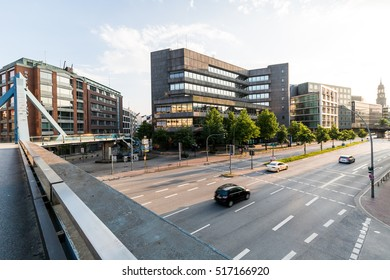 HAMBURG, GERMANY - JUNE 6, 2016: Exterior view of the Deutsche Bundesbank headquarters building in Hamburg on June 6, 2016. Its located at the Rodingsmarkt station in Hamburg old town centre.