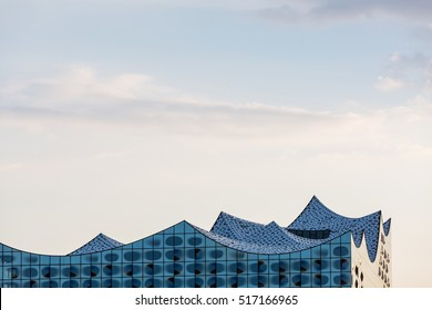 HAMBURG, GERMANY - JUNE 6, 2016: The Elbphilharmonie rooftop in the port of Hamburg on June 6, 2016. It is Germanys largest port and is named the countrys Gateway to the World.