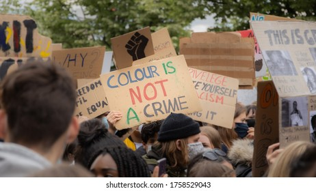 Hamburg, Germany. June 6 2020. A BLM protester at a German Black Lives Matter protest as German protesters march in solidarity with US protesters following the killing of George Floyd in Minneapolis.