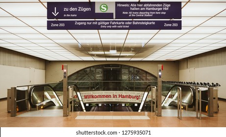 HAMBURG, GERMANY - MAR 20, 2018: Entrance to train station from Hamburg International Airport with greeting message Welcome to hamburg