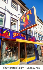 HAMBURG, GERMANY - MARCH 08: sex shop at the Reeperbahn on March 08, 2014. The famous entertainment and red light district Reeperbahn is regarded as the most sinful mile in the world.