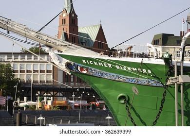 HAMBURG, GERMANY - MARCH 08: ship Rickmer Rickmers on March 08, 2015 in Hamburg. The Rickmer Rickmers is a sailing ship - three masted barque - permanently moored as a museum ship in harbor of Hamburg