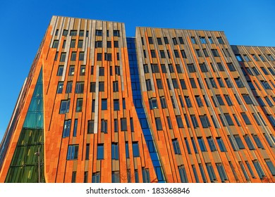 HAMBURG, GERMANY - MARCH 08: Sumatra building in the Ã?Â?berseequartier of the HafenCity on March 08, 2014 in Hamburg. It is designed by Erick van Egeraat and part of the city-planning project Hafen-City