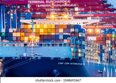 Hamburg, Germany - March 15, 2018: The container ship CMA CGM Antoine de Saint Exupery is unloaded at the terminal Burchardkai (CTB). She is the flagship of CMA CGM and the largest in the port to date