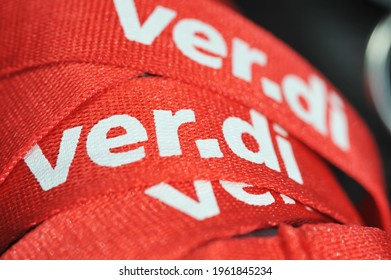 Hamburg, Germany - March 20, 2021:  Lanyards branded with the logo of ver.di - ver.di is the German United Services Trade Union