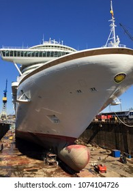 Hamburg, Germany / March 2015 : One of P&Os Cruise ships MS Azura being re-painted and overhauled after 5 years service