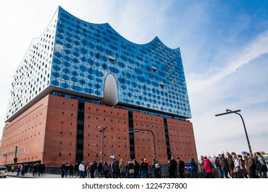 HAMBURG, GERMANY - MARCH, 2018: The beautiful Elbe Philharmonic building a concert hall located in the HafenCity quarter of Hamburg