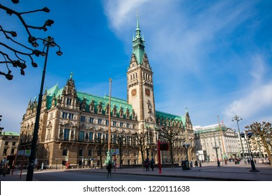 HAMBURG, GERMANY - MARCH, 2018: Hamburg City Hall buildiing located in the Altstadt quarter in the city center at the Rathausmarkt square in a beautiful early spring day