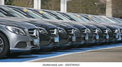 Hamburg, Germany, March 2018, Mercedes star, logo of German car producer Daimler Benz