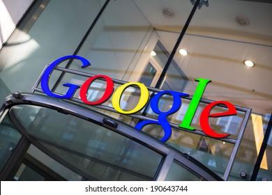 HAMBURG, GERMANY - MARCH 4, 2013: Google Corporation Building sign