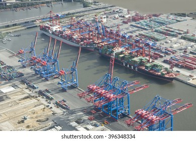 Hamburg, Germany - March 6, 2016: Aerial view of the Port with Kahlbrandbruecke, of Hamburg on the Elbe river