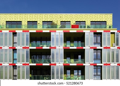 Hamburg, Germany - March 9, 2015: The algae house in Hamburg. This is the first algae powered building in the world equipped with an algae bioreactor facade