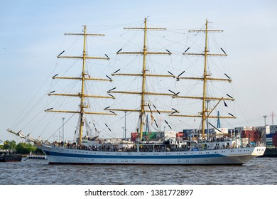 HAMBURG, GERMANY - MAY 06, 2011: Tall ship MIR enters Hamburg harbour during the Grand Arrival Parade of the Hamburg Port Anniversary on May 06, 2011. The Hamburg port anniversary is the largest annua