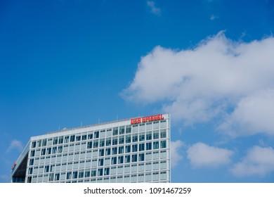 Hamburg Germany - May 11, 2018: Der Spiegel, German Magazine, Headquarter Ericusspitze, SPIEGEL-Verlag Rudolf Augstein GmbH
