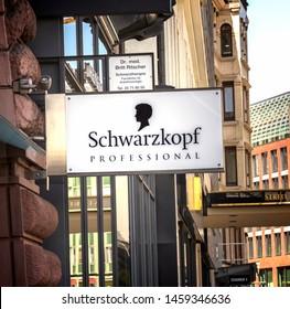 "Hamburg, Germany, May 11, 2019: Schwarzkopf Brilliance Intense Permanent Hair Coloring product store. The logo of the brand ""Schwarzkopf"""